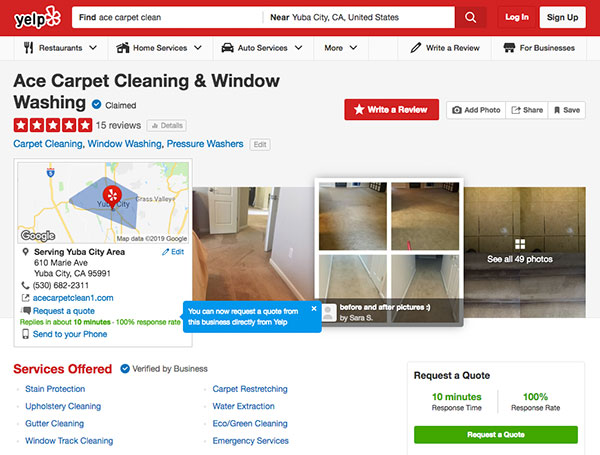 View more reviews for Ace Carpet Cleaning & Window Washing on Yelp.com